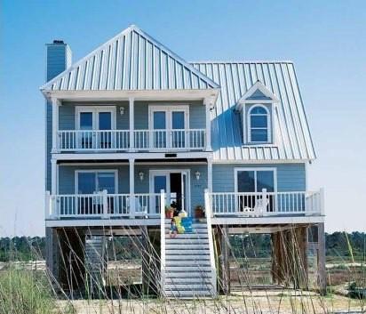 Примеры дизайна домов со столбчатыми основаниями